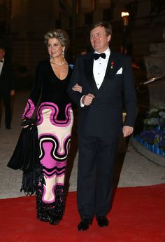 Pin for Later: 15 Reasons Queen Máxima Should Be Your Royal Style Inspiration She Thinks Gowns Don't Have to Be Boring Plain black gowns are not her thing.