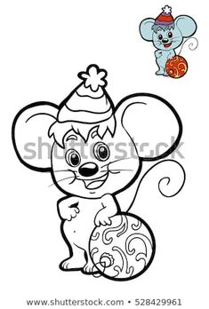 Coloring book for children, Christmas animals, Mouse - Vorlagen - Animalplanet Christmas Vases, Christmas Animals, Christmas Colors, Kids Christmas, Christmas Crafts, Animal Coloring Pages, Coloring Books, Pet Mice, House Mouse