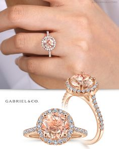 A fashionable morganite center stone brings a colorful twist to this classically beautiful engagement ring. The round cut gem is encircled by a breathtaking halo of pave diamonds and set atop a slim rose gold and diamond band. Three Stone Engagement Rings, Perfect Engagement Ring, Beautiful Engagement Rings, Vintage Engagement Rings, Unique Diamond Rings, Diamond Bands, Morganite Engagement, Halo Diamond Engagement Ring, Morganite Jewelry