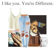 """I like you , You're Different "" by melaninaire ❤ liked on Polyvore featuring Too Faced Cosmetics, WithChic, American West and GlassesUSA"