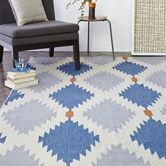 Westelm Phoenix Wool Dhurrie Rug - Regal Blue