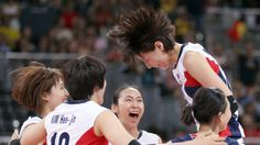 cute!! :D  http://media.jtbc.co.kr/2012London    Yeon-Koung Kim of Korea celebrates with her teammates during their match with USA