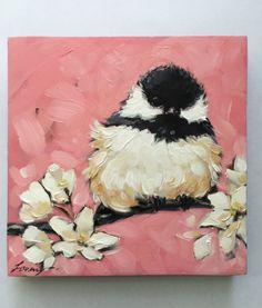 Chickadee art impressionistic 5x5 original oil by LaveryART