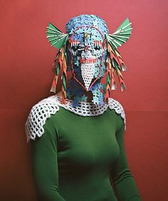 """Credit: Marie Rime """"I started out just gluing everything to my head, but my teachers suggested that it might be better to glue the pieces together [in a mask] instead,"""" explains Rime"""