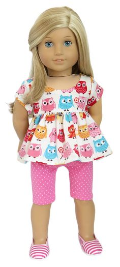 American Girl Doll Clothes | Trendy Owl Babydoll Top and Leggings Set