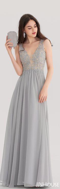 V-neck Floor-Length Chiffon Prom Dress With Beading#JJsHouse #Prom dresses