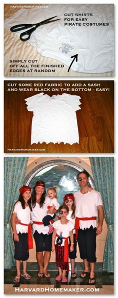 Pirate Costumes DIY - no sew. Article is: 15 things to pack for a Disney Cruise. Scroll down to see Pirate Costume section. Pirate Costumes DIY - no sew. Article is: 15 things to pack for a Disney Cruise. Scroll down to see Pirate Costume section. Hallowen Costume, Halloween Kostüm, Family Halloween, Diy Costumes, Diy Girls Pirate Costume, Pirate Party Costume, Pirate Costumes For Kids, Easy Disney Costumes, Disney Family Costumes