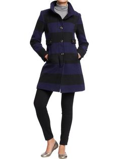 Old Navy | Women's Color-Block Wool-Blend Peacoats