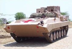 """DRDO Armoured Ambulance,Reconnaissance Vehicle,Indian Army DRDO Armoured Ambulances is a tracked vehicle based on """"Sarath"""" Indian license-produced variant of BMP-2. Designed by the Combat Vehicles Research and Development Establishment (CVRDE), a branch of the Defence..."""