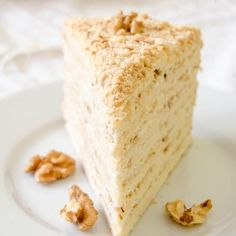 This honey cake has Russian origins. It is made from honey cake sheets and a rich sour cream filling. Tastes amazing!