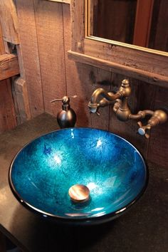 Rustic Powder Room with Royale wallmount faucet Reclaimed wood Blue frost textured tempered glass vessel sink bowl Bathroom Sink Bowls, Rustic Bathroom Vanities, Bowl Sink, Bathroom Wall Decor, Bathroom Fixtures, Bathroom Bath, Bathroom Wallpaper, Blue Powder Rooms, Rustic Powder Room