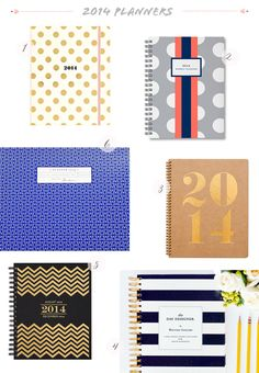 Seasonal Stationery: 2014 Planners | 1. Kate Spade 17-month agenda; 2. Sarah Pinto; 3. Sugar Paper at Target; 4. Whitney English Day Designer; 5. Paper Source; 6. Laurel Denise | Click through for full links and resources!