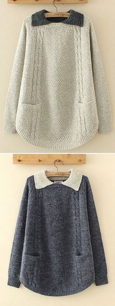 Casual Lapel Pocket Pure Color Sweaters For Women