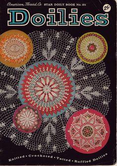 Star 151 Doilies Crochet Knitting Patterns Tatting Ruffle Cathedral Flower 1950 #AmericanThreadCompany #CrochetPatterns