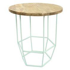 Svetlozelený stolík s drevenou doskou  HF Living Hexa Mint