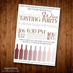Printable Wine Tasting Party Invitation