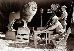 Shooting the video for the original MGM lion.