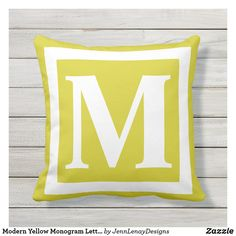 Outdoor Throw Pillows, Monogram Letters, Favorite Color, Create Yourself, Plush, Lettering, Sewing, Yellow, Modern