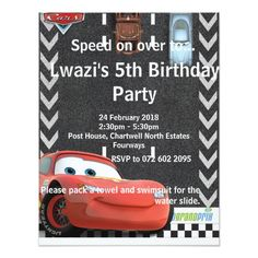 Shop Cars Birthday Invitation created by DisneyPixarCars. 5th Birthday, Birthday Parties, Cars Birthday Invitations, Rsvp, Party, Birthday Celebrations, Anniversary Parties, Fiesta Party, Parties