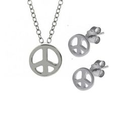 Bling Jewelry 925 Silver Mini Peace Pendant Necklace and Stud Earrings Set