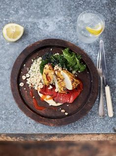 Jamie's delicious seared turmeric chicken recipe with hummus, peppers, couscous and greens is an easy to make, healthy dish for the whole family to enjoy.