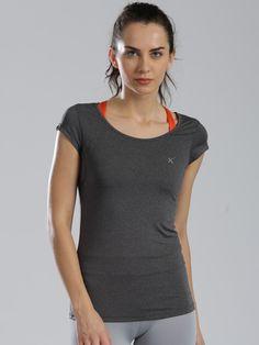 Buy HRX By Hrithik Roshan Charcoal Grey Active T Shirt - Tshirts for Women | Myntra