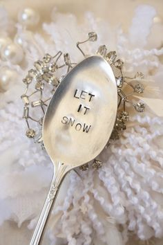 Vintage silverware  Let it snow garden marker  silver plated  christmas decoration