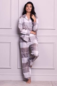 Buy Mink Wrapband Flannel Button Through Pyjamas from the Next UK online shop