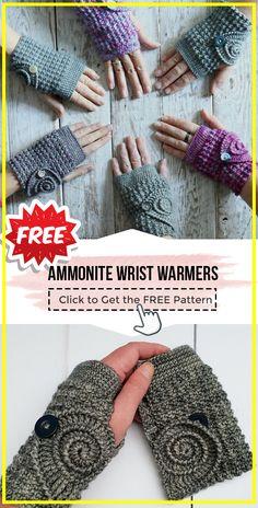 CROCHET Ammonite Wrist Warmers free pattern – Judy Weyrauch-Quinn - Value activa Crochet Crafts, Crochet Projects, Free Crochet, Easy Crochet, Knit Crochet, Crochet Granny, Crochet Fingerless Gloves Free Pattern, Fingerless Mittens, Loom Knitting