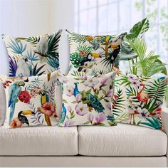 "Square 18"" Hand Printed Parrot Peacock Pillow Covering Flamingos Linen Cotton Cushion Decorative Customized Drop Shipping. Yesterday's price: US $4.99 (4.29 EUR). Today's price: US $3.34 (2.93 EUR). Discount: 33%."