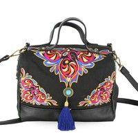 Wish | Top Women's Fashion Vintage Cavas Backpack Rucksack Travel Bag Schoolbag Satchel Embroider 5 Colors