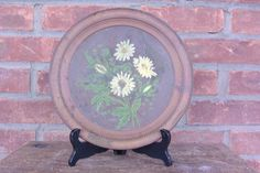 Hand painted copper flue cover Daisys diameter inner concave Couple dings and scratches. Not for the Victorian drawing room, but ideal for the cabin or cottage. Vintage Metal, Vintage Items, Fireplace Tool Set, Happy Campers, Art Nouveau, Decorative Plates, Copper, Hand Painted, Unique Jewelry