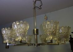 "Mid Century 60´s  Chrome ø 29""  Glass Bloom ICEGLAS Ceiling Lamp Chandelier"