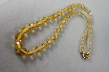 Vintage Mid Century  Czech Faceted Citrine Faceted Glass Bead Necklace GF Clasp