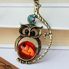 cute lovely owl Necklace with crystal eye by Sevinoma on Etsy, $1.99