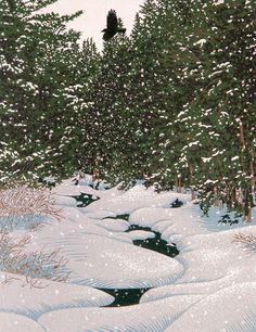 First Snow, lincout print by William H. Hays