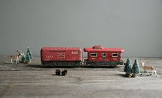 SO COOL! little red tin train by ohalbatross on Etsy, $35.00
