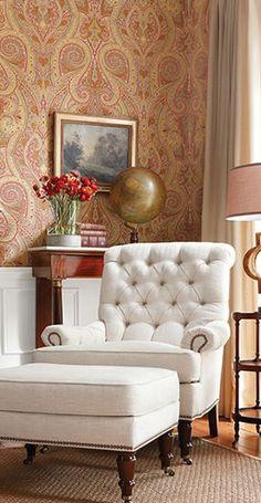 Thibaut Wallpaper & Fabrics: Menswear Resource: Patani Great chair!
