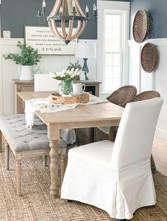 Amazing Summer Dining Room Decor Ideas Ready For Dinner - There is a common misconception that you have to spend a lot of money on a dining room to make it look good. That is absolutely not true as there are . Dining Room Paint Colors, Dining Room Wall Decor, Dining Room Design, Dining Room Furniture, Sofa Furniture, Rugs For Dining Room, Mirrors In Dining Room, Farmhouse Dining Room Rug, Diningroom Decor