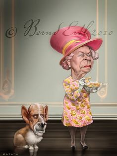 Queen Elizabeth II (by Bernard Ertl / Austria) so funny love this Funny Caricatures, Celebrity Caricatures, Prinz Phillip, Foto Beatles, Caricature Drawing, Funny Illustration, Wow Art, Queen Elizabeth Ii, Chistes
