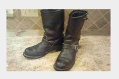 My vintage Carolina engineer boots - before bootblacking.
