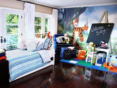 Bronx Wentz: Pete Wentz and Ashlee Simpson brought their love of Disney into son Bronx's room. The couple had the film company's Pooh cartoonist come in to draw the mural. One Bedroom, Kids Bedroom, Kids Rooms, Babies Rooms, Babies Nursery, Bedroom Ideas, Baby Car Bed, Celebrity Nurseries, Winnie The Pooh