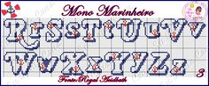 Su Ponto X: Monograma Marinheiro Cross Stitch Letters, Cross Stitch Boards, Alphabet And Numbers, Pixel Art, Stitch Patterns, Crochet, Bullet Journal, Lettering, Cross Stitch Font