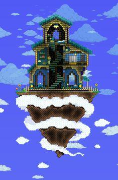Terraria Sky Base Terraria House Design, Terraria House Ideas, Terraria Tips, Terraria Castle, Dungeons And Dragons, Minecraft Tutorial, Minecraft Houses, Minecraft Anime, Minecraft Stuff