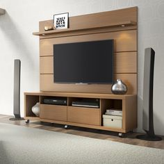Manhattan Comfort Cabrini TV Stand and Floating Wall TV Panel with LED Lights for sale online Tv Stand And Panel, Tv Panel, Tv Wall Design, Tv Unit Design, Floating Entertainment Center, Entertainment Centers, Tv Entertainment Wall, Floating Wall, Floating House