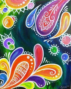 Color Swirl Fun paisley painting acrylic on by BluebirdBlackjack, $83.00