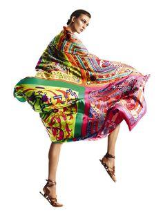 Style Pantry   Karlie Kloss In Lush Hermes Prints For Harper's Bazaar