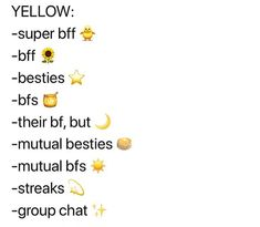 Yellow Snapchat Friend Emojies Noms Snapchat, Cute Snapchat Names, Snapchat Streak Emojis, Snapchat Best Friends, Snapchat Friend Emojis, Snapchat Captions, Instagram Emoji, Cute Instagram Captions, Instagram And Snapchat