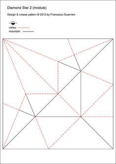Designed by Francesco Guarnieri, February Photo model: flic. Geometric Origami, Origami And Kirigami, Origami Box, Origami Design, Quilled Paper Art, Paper Crafts Origami, Paper Folding Designs, Cardboard Sculpture, Polygon Art