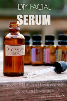 DIY Facial Serum The Paleo Mama INGREDIENTS: glass dropper bottle (where to buy online) – we save old stevia bottles and use them for things like this! 4 Tablespoons of Almond oil (where to buy) or Jojoba oil (where to buy) 7 drops each of Lavender, Myrrh Essential Oil, Doterra Essential Oils, Essential Oil Blends, Glass Dropper Bottles, Homemade Beauty Products, Natural Beauty Products, Beauty Recipe, Belleza Natural, Diy Skin Care